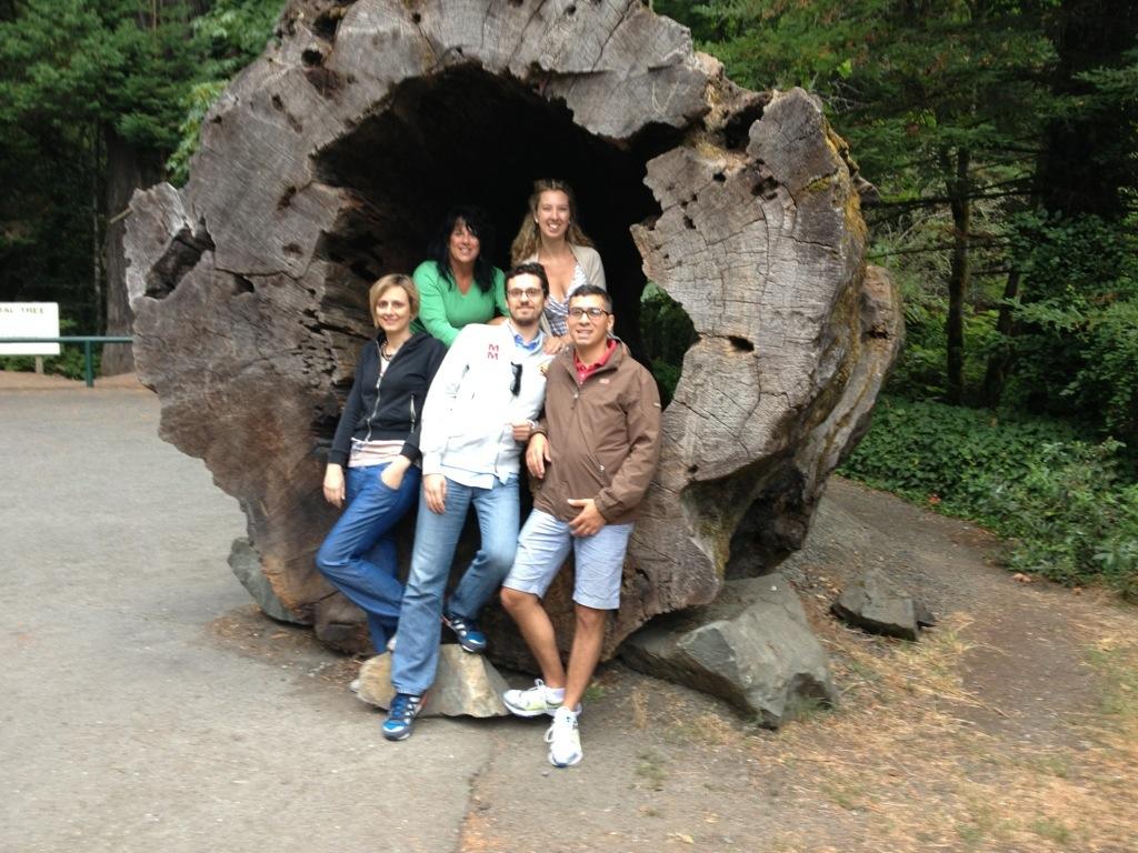Insieme ai miei compagni di viaggio, nel Prairie Creek Redwoods State Park.